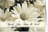 White Flowers Parents Wedding Thank You Card