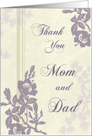 Purple Flowers Parents Wedding Thank You Card