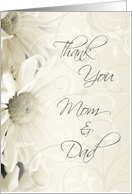 White Floral Parents Wedding Thank You Card