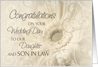 Beige Floral Swirls Congratulations Daughter and Son in Law Wedding Card