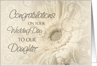 Beige Floral Swirls Congratulations Daughter Wedding Day Card