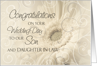 Beige Floral Swirls Congratulations Son and Daughter In Law Wedding Day Card