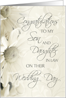 White Flowers Wedding Congratulations Son and Daughter in Law Card