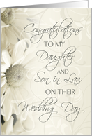 White Flowers Wedding Congratulations Daughter and Son in Law Card