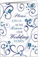 Blue White Floral Wedding Vow Renewal Invitation Card