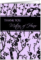 Matron of Honor Best Friend Thank You Card - Purple and Black Floral card
