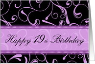 19th Happy Birthday Card - Purple and Black Swirls card