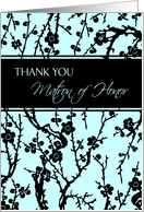 Thank You Matron of Honor Best Friend Card - Turquoise and Black Floral card