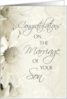 Congratulations on Marriage of Son Card - White Flowers card