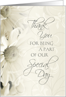 Thank You Friend for Being in my Wedding - White Flowers card