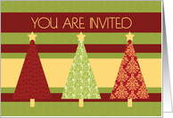 Christmas Party Invitation Card - Red and Green Pattern Trees card