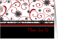 Christmas Party Invitation Card - Black Red White Swirls & Snow card