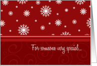 Merry Christmas for Girlfriend Card - Red & White Snow card