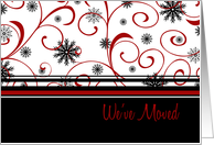 Happy Holidays We've Moved Christmas Card - Red, Black, White Snow card