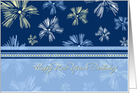 Happy New Year's Birthday Card - Blue Yellow Fireworks card