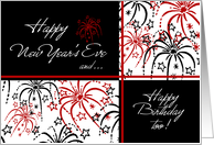Happy New Year's Eve Birthday Card - Red Black & White Fireworks card