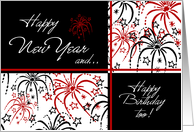 Happy New Year's Birthday - Red Black & White Fireworks card
