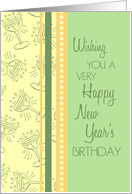 Happy New Year's Birthday Card - Green, Yellow Orange Party Glasses card