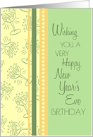 Happy New Year's Eve Birthday Card - Green, Yellow Orange Party Glasses card