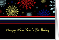 Happy New Year's Birthday Card - Colorful Stripes card
