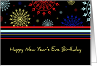 Happy New Year's Eve Birthday Card - Colorful Stripes card