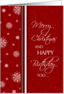 Christmas Happy Birthday Card - Red & White Snowflakes card