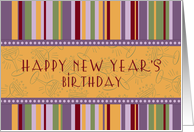 New Year's Happy Birthday Card - Retro Stripes card