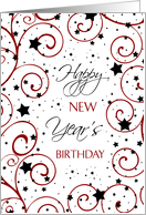 New Year's Happy Birthday Card - Red, Black & White Stars card