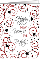 New Year's Eve Happy Birthday Card - Red, Black & White Stars card