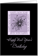 New Year's Happy Birthday Card - Black & Purple Fireworks card