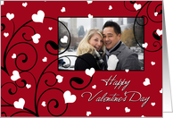 Happy Valentine's Day Photo Card - Swirls & Hearts card
