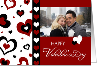 Happy Valentine's Day Photo Card - Red, Black, and White Hearts card