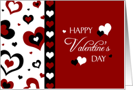 Happy Valentine's Day Teacher Card - Red, Black & White Hearts card