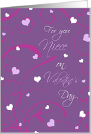 Happy Valentine's Day for Niece - Purple Hearts & Swirls card
