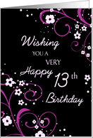 Happy 13th Birthday - Black & Pink Flowers card