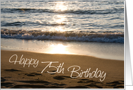 Happy 75th Birthday - Waves at Sunset card