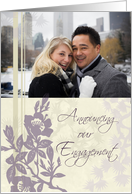 Engagement Announcement Photo Card - Purple Floral card