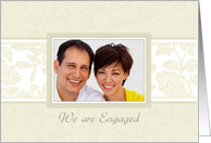 Engagement Announcement Photo Card - Beige Floral card