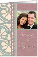 Engagement Announcement Photo Card - Antique Turquoise & Rose card