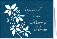 Will you be my Matron of Honour Best Friend Invitation - Turquoise Floral card