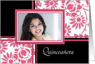 Quinceanera Invitation Photo Card - Pink & Black Floral card