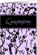 Quinceanera Party Invitation - Purple & Black Floral card