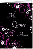 Quinceanera Party Invitation - Black & Pink Flowers & Swirls card