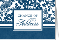 Change of Address - Blue & White Floral card