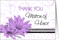 Matron of Honor Thank You for Best Friend - Purple Swirls & Flowers card