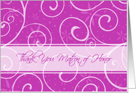 Matron of Honor Thank You for Best Friend - Pink Swirls card