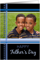 Happy Father's Day Photo Card - Blue & Black Stripes card
