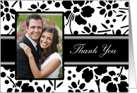 Wedding Thank You - Black and White Floral card