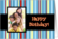 Happy Birthday Photo Card - Colorful Stripes card