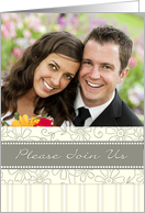 Wedding Invitation Photo Card - Cream Floral card